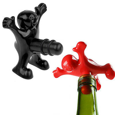 Newest Creative Funny Happy Man Guy Wine Stopper Novelty Bar Tools