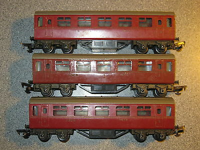 3 Early Triang OO Gauge BR Maroon Coaches