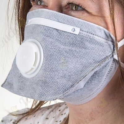 10 QUALITY CARBON LAYED VALVED FACE MASKS Respirator Dust Odours Disposable PPE
