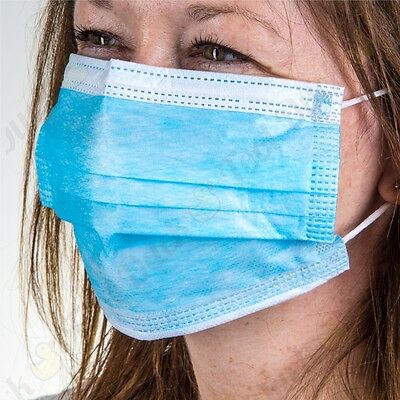 50 DISPOSABLE LOOPED 3 PLY FACE MASK Flexible Dust Protector Healthy Allergy PPE