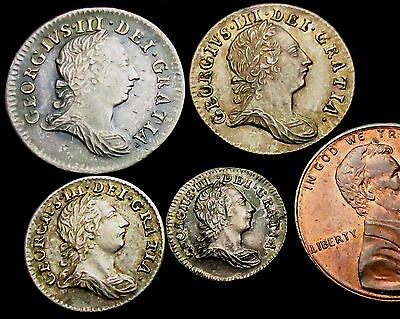 S231: 1763 George III Full Silver Maundy Set - rarely seen as 1d and 2d are hard
