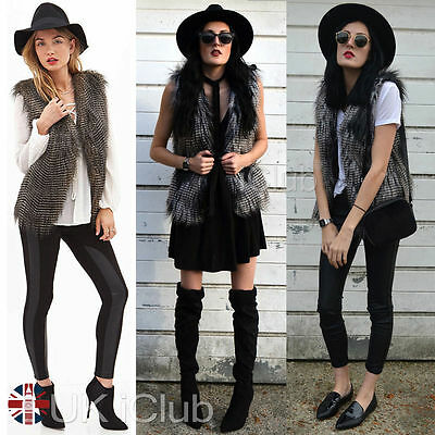 Womens Faux Fur Peacock Vest Waistcoat Gilet Ladies Winter Coats Jacket Outwear