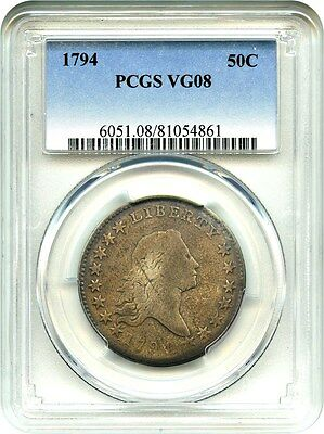 1794 50c PCGS VG-08 - First Year Type Coin - Bust Half Dollar