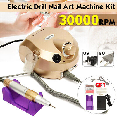30000RPM Pro Manicure Tool Pedicure Electric Drill File Nail Art Machine Kit Set