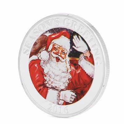 2016 Silver Plated Merry Christmas Santa Snowman Commemorative Coin Collect Gift