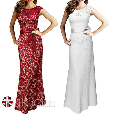 Womens Formal Lace Prom Ball Gown Party Evening Bridesmaid Maxi Dress UK 10-18