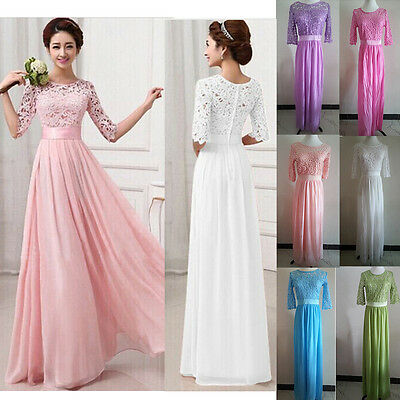 Chiffon Ladies Long Maxi Lace Bridesmaid Evening Party Formal Prom Dresses Gown