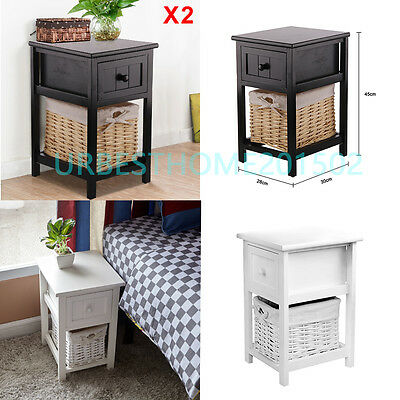 White Bedside Wooden Shabby Chic Storage Bedside Table Units Wicker Cabinet