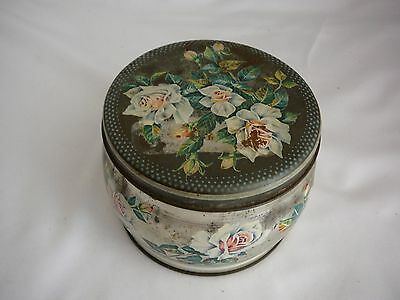 Vintage Huntley & Palmers biscuit tin empty silver with roses