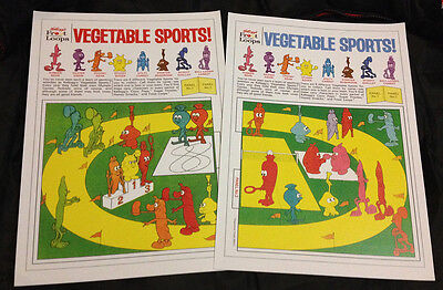 VEGETABLE SPORTS * QUALITY REPROs OF BOTH 1971 R&L CEREAL TOY PANELS! KELLOGGS