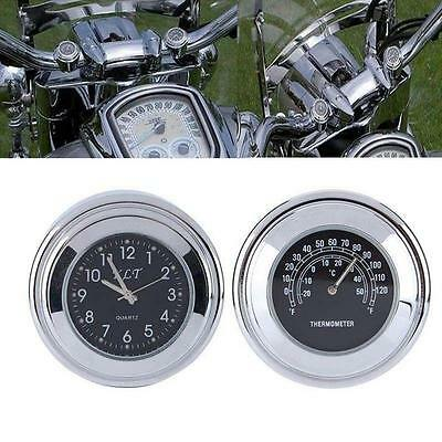 """Stylish 7/8"""" Motorcycle Handlebar Mount Clock Dial Watch and Temp Thermometer"""