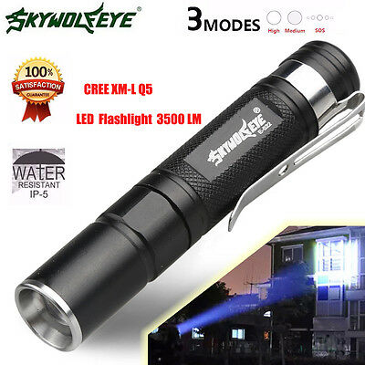 Waterproof 3500LM Pocket LED Flashlight 3 Modes LED Torch Focus Mini Penlight