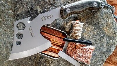 Camping Hatchet Axe Steel Compact Survival Fire Starting Kit Ferro Rod Fatwood