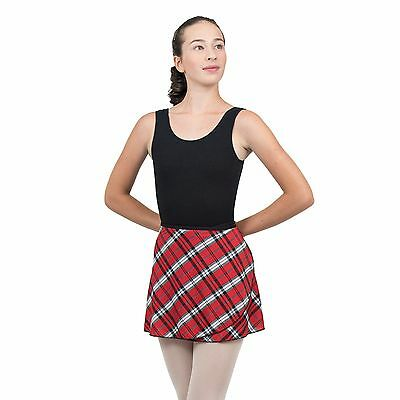 Fancy black/red/white plaid print wrap dance skirt SMALL ADULT size