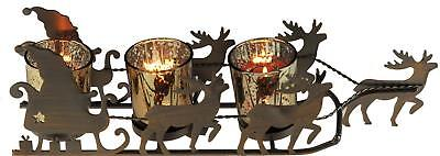 Christmas Reindeer Sleigh TRIPLE Tea Light Candle Holder Ornament / Decoration