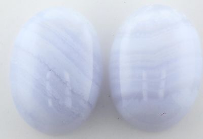 A PAIR OF 14x10mm OVAL CABOCHON-CUT NATURAL BLUE-LACE AGATE GEMSTONES