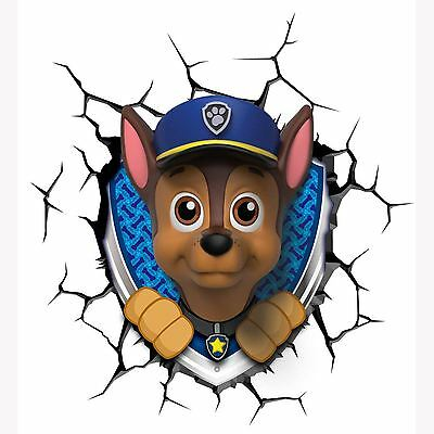 Paw Patrol 3D Led Wall Light - Chase Childrens Bedroom Wall Night New Free P+P