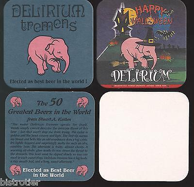 4x Sous Bock Beer Coaster Bier Deckel  ¤6 DELIRIUM TREMENS HAPPY HALLOWEEN