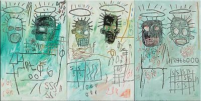 "Jean Michel Basquiat Oil Painting on Canvas wall decor 16x32"" Expressionism art"