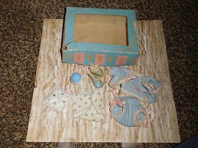 Vintage Vogue Ginnette Tagged Blue Outfit -IOB Shoes, Socks, Diaper, Rattle