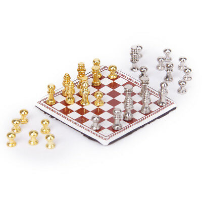 1:12 Dolls House Miniature Fairy Garden Metal Chess w/ Chessboard Play Set