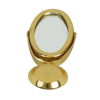 1:12 Gold Stand Makeup Dressing Mirror Dollhouse Miniature Bedroom Accessory