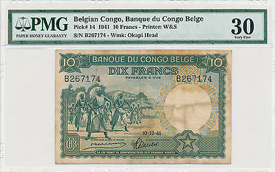 Belgian Congo 10 Francs 1941 Pick# 14 - PMG 30 Very Fine