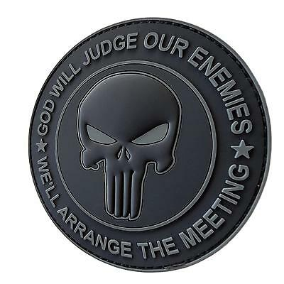 GOD WILL JUDGE OUR ENEMIES punisher PVC ACU dark subdued parche hook patch