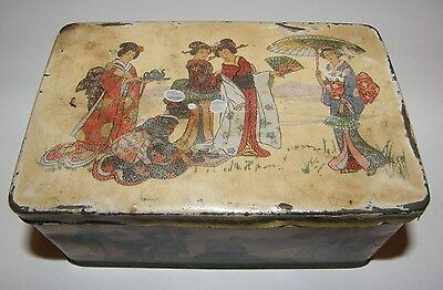 Beautiful Painted Antique Vintage Old Chinese Tea Tin Caddy GEISHA GIRLS