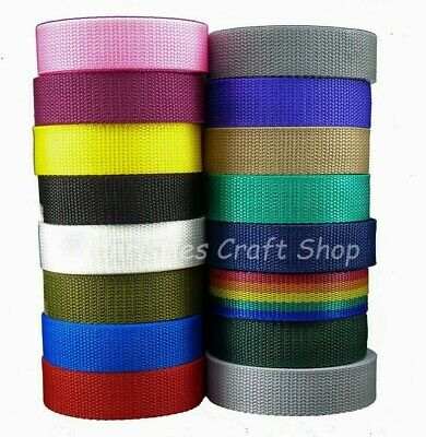 Polypropylene Strap Webbing 20mm & 25mm -  5m, 10m or 50m Choice of Colours