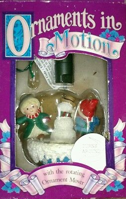 Enchanted Workshop ORNAMENTS IN MOTION Animated Ice Skating w/ Snowman Christmas