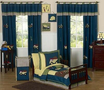 Blue Yellow Construction Boy Toddler Bedding for a Kid Bed Comforter Sheet Set
