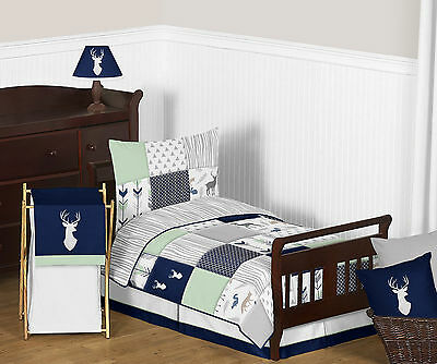 Mint Navy Blue White Grey Forest Animal Boy Toddler Comforter Sheet Bedding Set