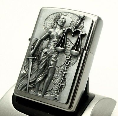 Rare Zippo Lighter SCALES OF JUSTICE JUSTITIA Heavy plate detailed design ZIPPOS