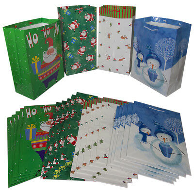 24 Christmas Holiday Gift Bags With Handles Bulk Party Set Assorted Large Sizes