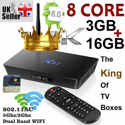 [3GB+16GB] X92 Octa Core Amlogic S912 Android 6.0 TV Box Dual Band 2.4/5Ghz WIFI