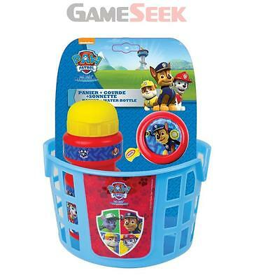 Paw Patrol Bike Basket, Water Bottle And Bell Accessories Pack - Toys Brand New