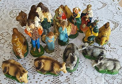 Vintage 17 Piece Lot of Paper Mache Nativity Made in Italy Creche Manger Figures