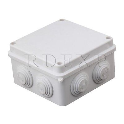 IP65 Plastic Waterproof Junction Box with Rubber Bung 100x100x70mm White