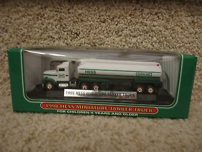 Hess 1998 Miniature Tanker Truck 1st Series - New in box White Green Collectible