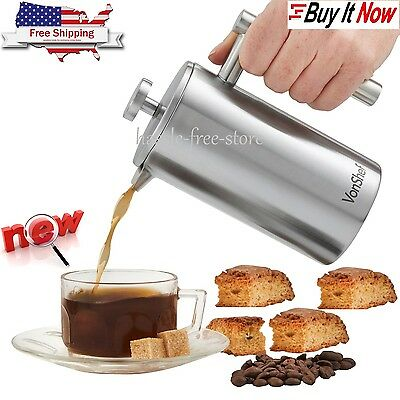 French Press Coffee Cup Maker Stainless Steel 3 Double Wall Brushed Cafetiere