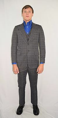 Vintage 70's Men's 3 Piece Blue Striped Plaid Suit by Lenox Royal  34 L 31 x 33