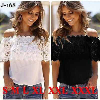 Women's Off Shoulder Casual Lace Tops Crochet Chiffon Blouse Shirt Plus Size LOT