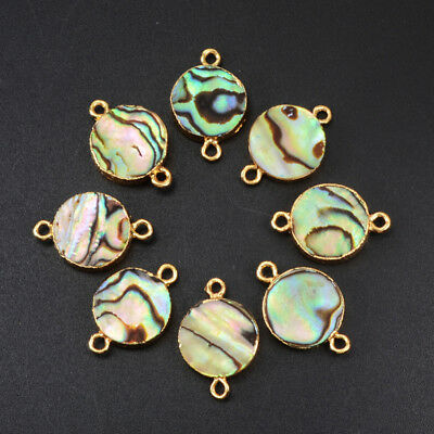 3Pcs 10~12mm Round Abalone Shell Gold Plated Edge Connector Jewelry DIY HG1052