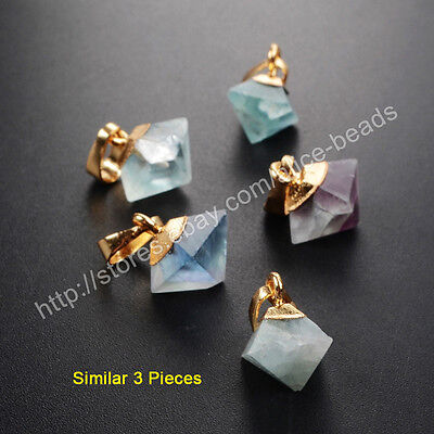 3Pcs Octahedron Pyramid Point Multi-Color Fluorite Gold Plated Pendant HWX059