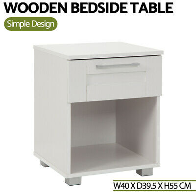 Bedside Table White Cabinet Chest 1 Drawers Storage Lamp Side