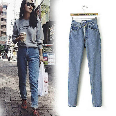 Women's Denim High Waist Boyfriend Jeans Loose Cowboy Long Pencil Pants Trousers
