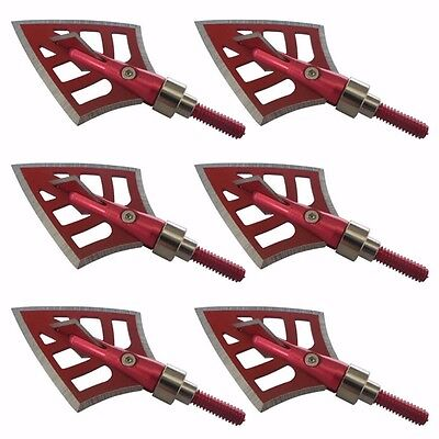 3/6/12X 100/125 Hunting Broadheads 4 Blade Arrow Heads Archery Tips Red Black