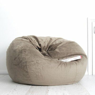 FUR BEANBAG LARGE Mocha Velvet Cover Cloud Chair Bean Bag for Lounge Rumpus NEW