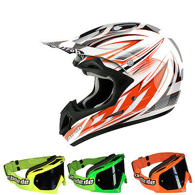 Airoh Jumper Casco Motocross En pico Orange MX-Bude MX-2 Gafas MX Cross